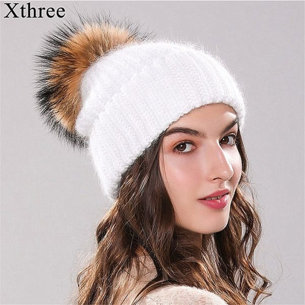 Xthree 70% Angola Rabbit fur knitted hat with real fur pom pom hat Skullie beanie winter hat for women  girl 's hat female cap 6