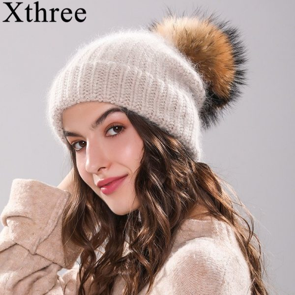 Xthree 70% Angola Rabbit fur knitted hat with real fur pom pom hat Skullie beanie winter hat for women  girl 's hat female cap 2