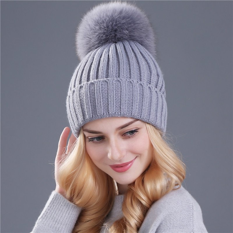 Winter Hat for Women Girls Hat Mink and Fox Fur Ball Cap Pom Poms Knitted Beanies Cap Thick Female Cap