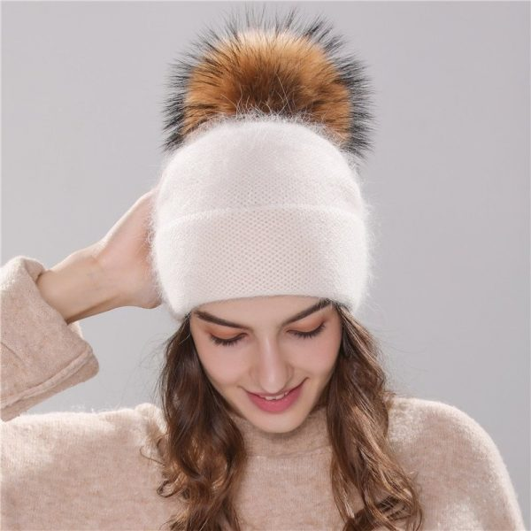 Xthree new women's hat winter beanie knitted hat Angola Rabbit fur Bonnet girl 's hat fall female cap with fur pom pom 6