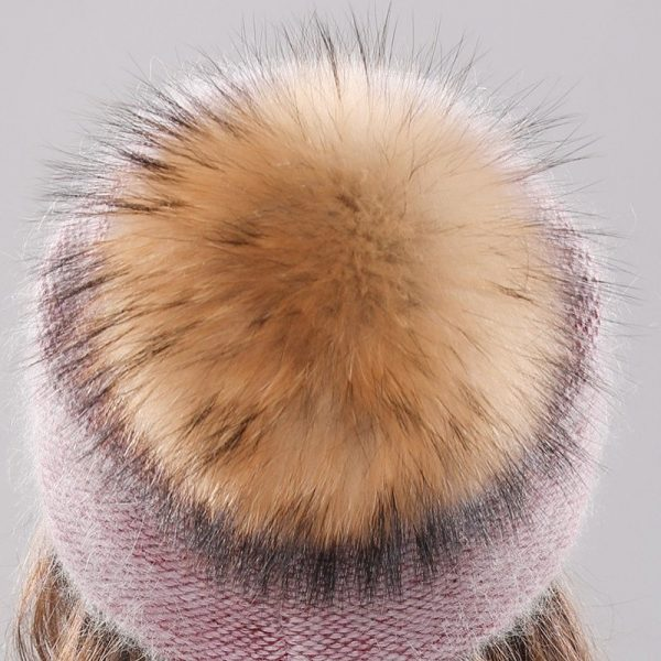 Xthree new women's hat winter beanie knitted hat Angola Rabbit fur Bonnet girl 's hat fall female cap with fur pom pom 10
