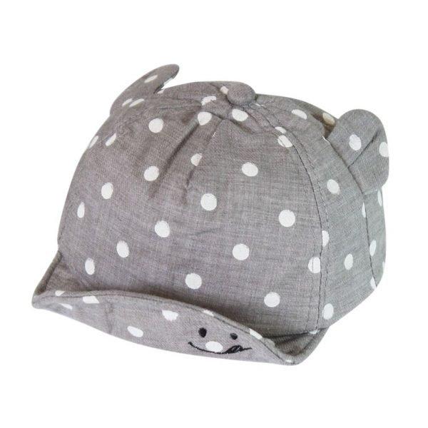 Children Sun Hats Toddler Cap Cute Dot Baby Cap Girl Boys Sun Hat With Ear For Spring Newborn Photography Props Baseball Cap - GRAY 2