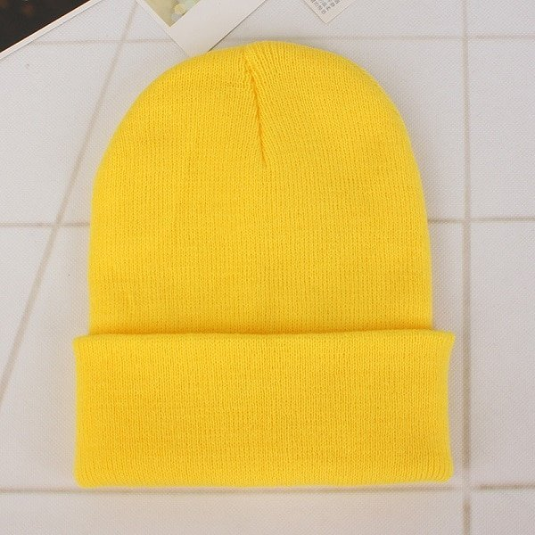 CAP SHOP 2020 Winter Hats for Woman New Beanies Knitted Solid Cute Hat Girls Autumn Female Beanie Caps Warmer Bonnet Ladies Casual Cap COLOR YELLOW 2