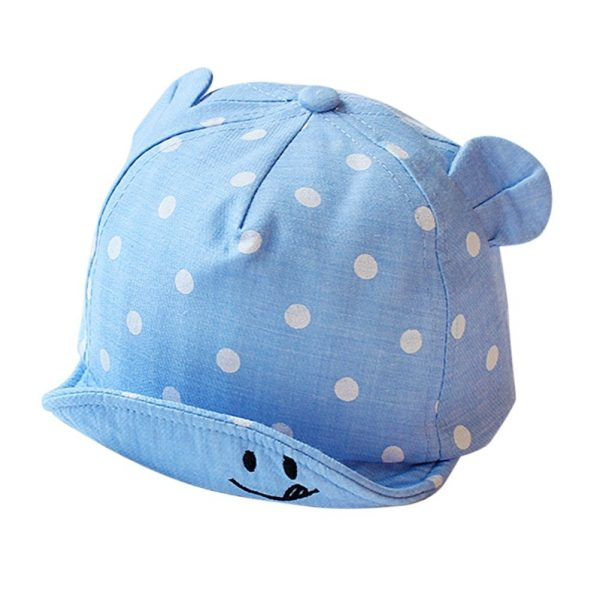 Children Sun Hats Toddler Cap Cute Dot Baby Cap Girl Boys Sun Hat With Ear For Spring Newborn Photography Props Baseball Cap - BLUE 2
