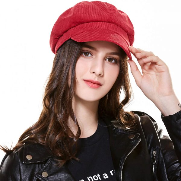 CAP SHOP Baret Corduroy Winter Octagonal Hats for Women Newsboy Cap High Quality Fashion Berets Solid Color Casual Female Hats - RED 2