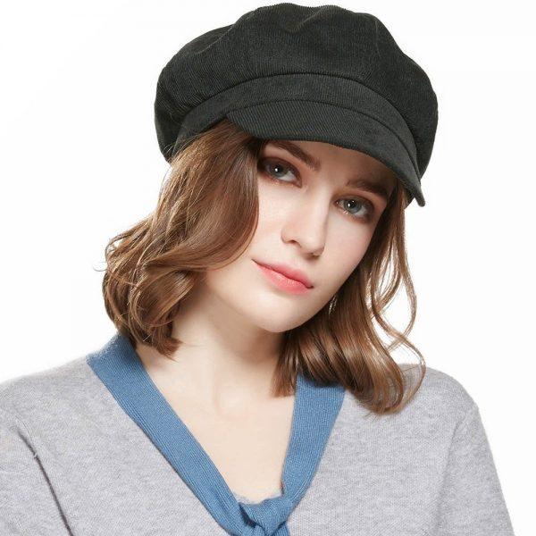 CAP SHOP Baret Corduroy Winter Octagonal Hats for Women Newsboy Cap High Quality Fashion Berets Solid Color Casual Female Hats - GREEN 2