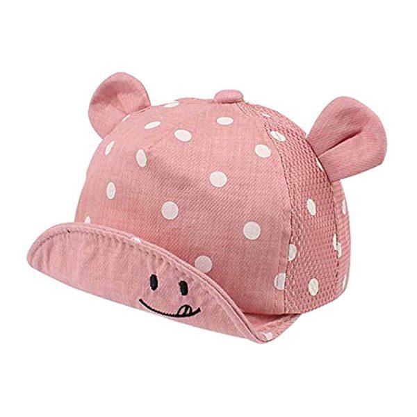 Children Sun Hats Toddler Cap Cute Dot Baby Cap Girl Boys Sun Hat With Ear For Spring Newborn Photography Props Baseball Cap - PINK 2