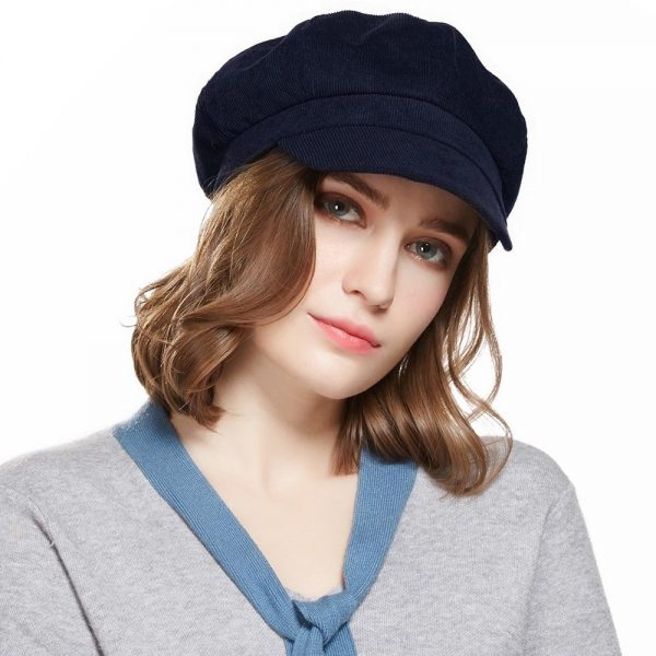 CAP SHOP Baret Corduroy Winter Octagonal Hats for Women Newsboy Cap High Quality Fashion Berets Solid Color Casual Female Hats - NAVY 2