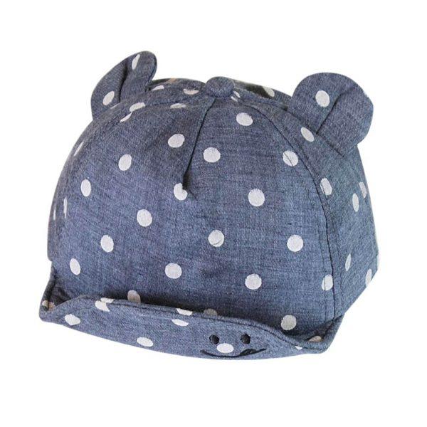 Children Sun Hats Toddler Cap Cute Dot Baby Cap Girl Boys Sun Hat With Ear For Spring Newborn Photography Props Baseball Cap - NAVY BLUE 2