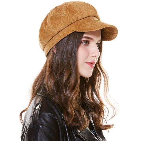 CAP SHOP Baret Corduroy Winter Octagonal Hats for Women Newsboy Cap High Quality Fashion Berets Solid Color Casual Female Hats - BROWN 2