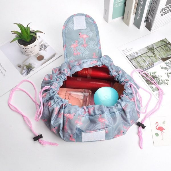 CAP SHOP Women Drawstring Travel Cosmetic Bag Makeup Bag Organizer Make Cosmetic Bag Case Storage Pouch Toiletry Beauty Kit Box COLOR GREEN FLAMINGO 2