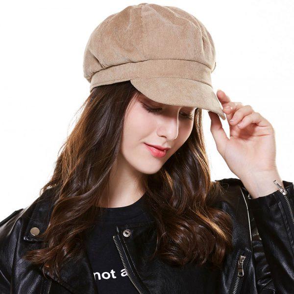 CAP SHOP Baret Corduroy Winter Octagonal Hats for Women Newsboy Cap High Quality Fashion Berets Solid Color Casual Female Hats - KHAKI 2