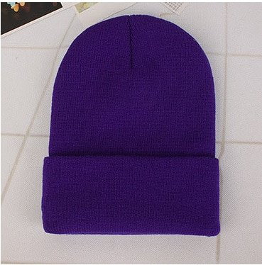 CAP SHOP 2020 Winter Hats for Woman New Beanies Knitted Solid Cute Hat Girls Autumn Female Beanie Caps Warmer Bonnet Ladies Casual Cap COLOR PURPLE 2