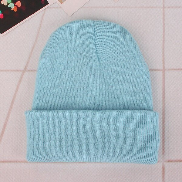 CAP SHOP 2020 Winter Hats for Woman New Beanies Knitted Solid Cute Hat Girls Autumn Female Beanie Caps Warmer Bonnet Ladies Casual Cap COLOR LIGHT BLUE 2