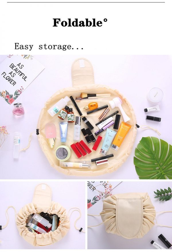 CAP SHOP Women Drawstring Travel Cosmetic Bag Makeup Bag Organizer Make Cosmetic Bag Case Storage Pouch Toiletry Beauty Kit Box COLOR WHITE CACTUS 4