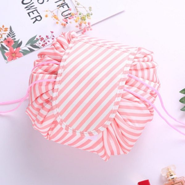 CAP SHOP Women Drawstring Travel Cosmetic Bag Makeup Bag Organizer Make Cosmetic Bag Case Storage Pouch Toiletry Beauty Kit Box COLOR WHITE CACTUS 8