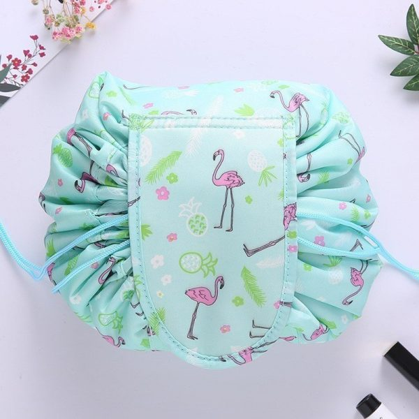 CAP SHOP Women Drawstring Travel Cosmetic Bag Makeup Bag Organizer Make Cosmetic Bag Case Storage Pouch Toiletry Beauty Kit Box COLOR GREEN FLAMINGO 12