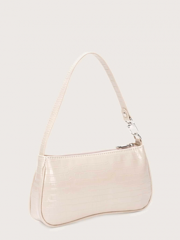 Croc Embossed Baguette Bag COLOR APRICOT - FREE SHIPPING - CAPSHOP.STORE