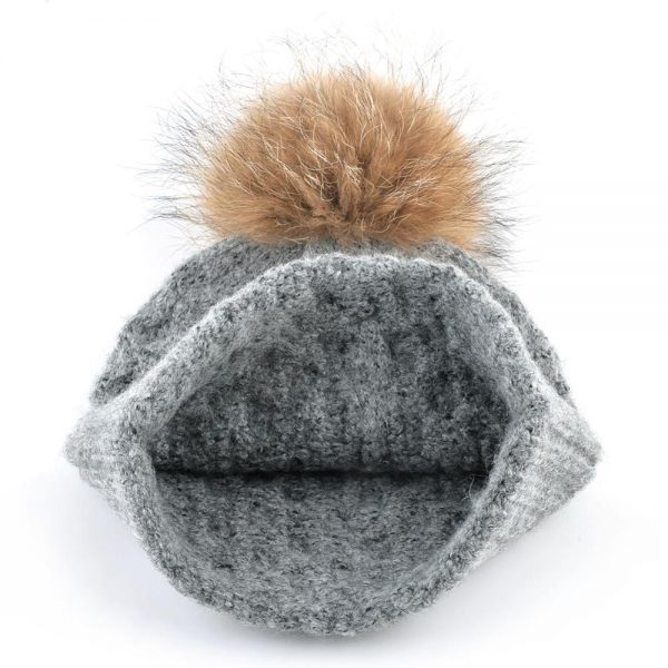 100% raccoon fur ball hats for women winter Knitted wool Beanies Thick warm hat PomPom Ball Ladies Solid Color Knit Woolen Bonne