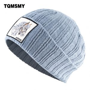 Winter Men's Knitted Beanie Skullies Solid Color bone Unisex Casual Knitting Wool Hats for Women Embroidery horse hat gorras