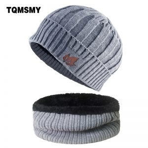 Winter Knitted wool Hats for Men Beanies keep Warm bonnet Maple leaf pattern hat scarf Sets Women Double layer velvet caps gorro