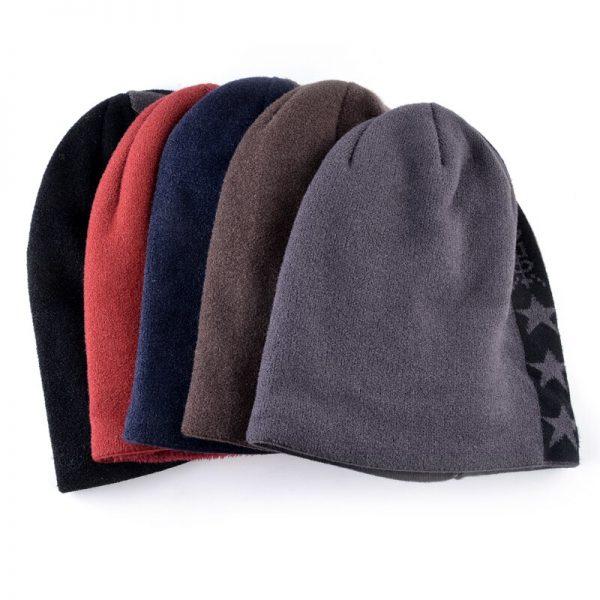 Double velvet skullies knitted wool hat Men's winter cap Keep warm beanies men bonnet plus velvet hats for women bone gorro