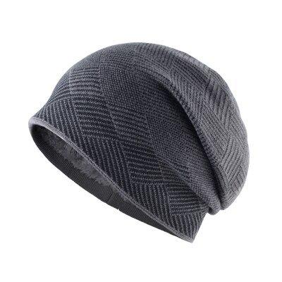 Plaid stripe bonnet Men's warm hat Double-layer gorro plus velvet knitted wool cap winter hats for men beanies hip hop caps