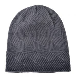 Plaid stripe bonnet Men's warm hat Double-layer gorro plus velvet knitted wool cap winter hats for men beanies hip hop caps