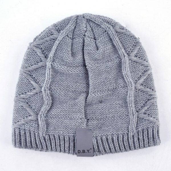 Unisex gorro metal accessories hat men's knitted wool beanies solid color casual hats for women winter skullies thicker cap bone
