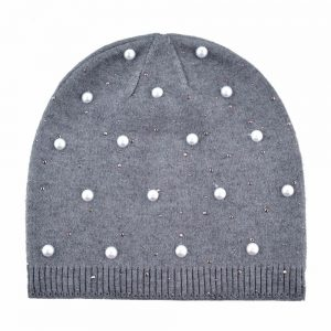 Fashion pearls cap Knitting wool beanies women's winter hat Casual skullies girls turban caps soft bone hats for women gorros