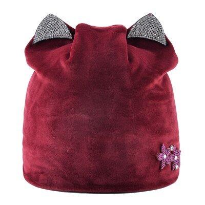 Casual Lady's Diamond Flower hat women's soft Velvet Beanies girl Cat ears bonnet Solid color winter Hats for Women turban caps