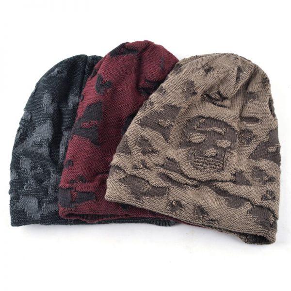 Casual bonnet Skull pattern hat for men beanies Knitted wool plus velvet bone Turban Cap Men's winter hats women's hat gorro cap