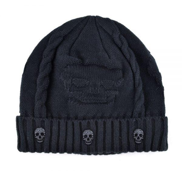 Super cool Skull pattern hats for men beanies Knitted wool plus velvet bone Solid Color Hip-hop Cap winter women's hat gorro cap