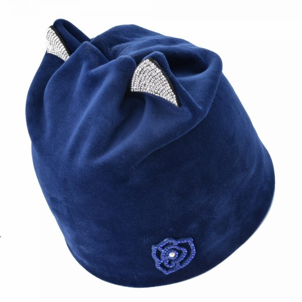 Soft velvet fabric hats for women winter Beanies Rhinestone decoration Cat Ear cap girls Beanie Autumn Casual gorros Woman bone