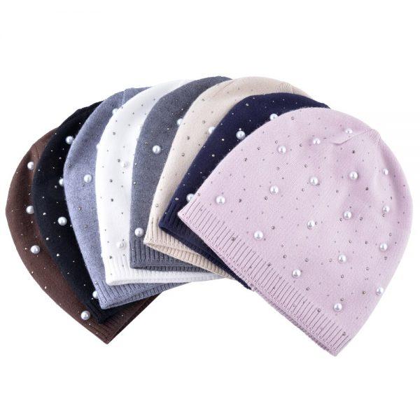 Fashion pearls cap Knitting wool beanies women's winter hat Casual skullies girls turban caps soft bone hats for women gorros