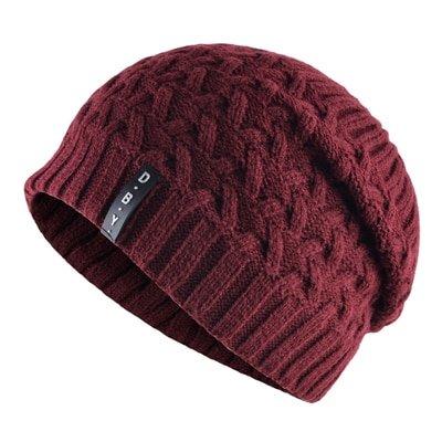 Casual winter hats for men skullies double layer gorro men's knitted wool beanies solid Color bonnet plus velvet warm cap man