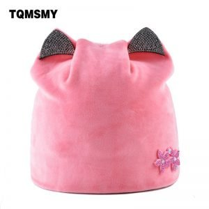 Casual Lady's Diamond Flower hat women's soft Velvet Beanies girl Cat ears bonnet Solid color winter Hats for Women turban caps