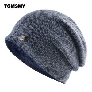 Minimalist Men's Winter Beanies Knitted wool Skullies man Hip Hop cap autumn gorros Plus velvet keep warm hats for men Bonnet