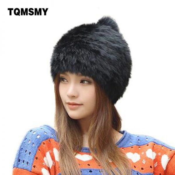 High quality Fashionable winter hats for women Rabbit Fur beanie Knitting wool Real Fur Casual cute girls cap free shopping