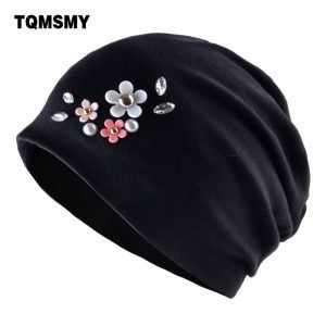 Casual cotton hats for women winter beanies autumn rhinestone hat Ladys pearl caps girls Turban cap Double Layer Skullies bone