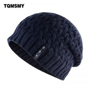 Casual winter hats for men skullies double layer gorro men's knitted wool beanies solid Color bonnet plus velvet warm cap man
