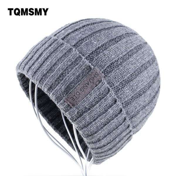 Keep warm gorro Winter Hats for Men Knitting wool Beanie women Casual Caps men's Beanies Plus velvet bone Solid color Skullies