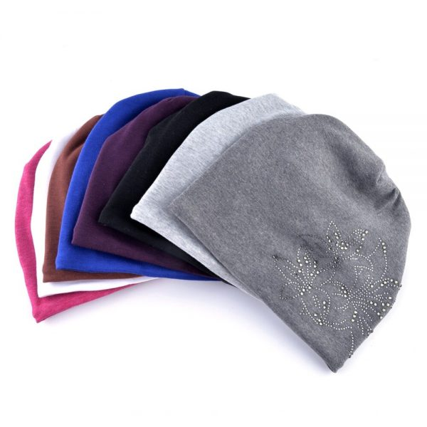 Fashion Rhinestone Flower Beanies Women Autumn Winter Solid Color Hats Ladies Casual Warm Bonnet Caps Female Skullies Gorros