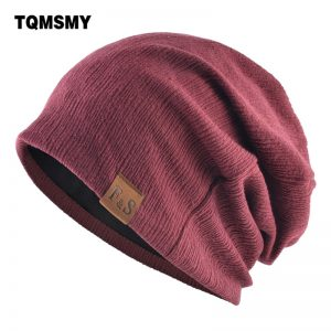 Autumn Solid color beanies for men Hip hop cap double layer Turban hat women winter bonnet Unisex outdoor skiing caps 6 colors