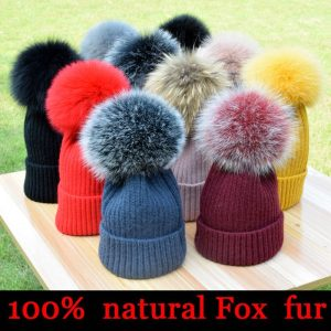 2021 New winter hat luxury quality Fox fur pompom hats beanie High quality Girls women bonnet winter hats for women
