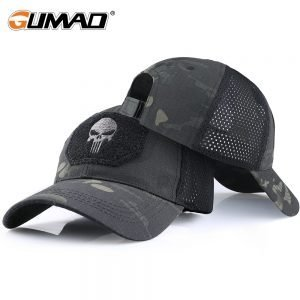 Skull Tactical Military Airsoft Cap Adjustable Breathable Sun Visor Trucker Hat Mesh Hunting Hiking Baseball Skeleton Snapback