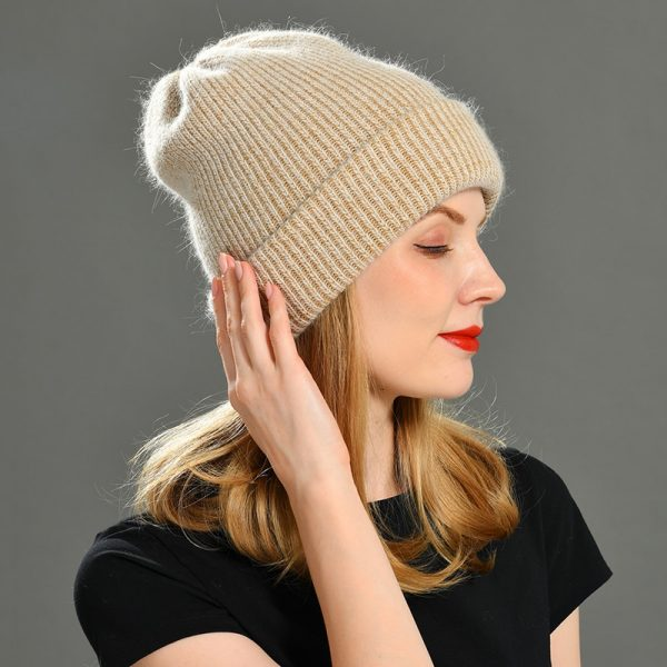 2021 New Winter Hat for Women Rabbit Cashmere Knitted Beanies Thick Warm Vogue Ladies Wool Angora Hat Female Beanie Hats