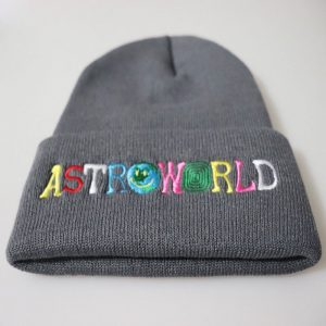 Trendy Men Women Knitted Hat Fashion ASTROWORLD Pattern Embroidery Ski Warm Winter Beanie Skullies Cap